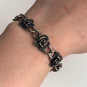 Vintage Marcasite rose bracelet silver